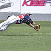 (Brad Davis/The Register-Herald) West Virginia shortstop Anthony Ayala dives but can't reach a sharply hit ball off the bat of Chillicothe's Jack Thompson during the Miners' 4-1 loss to the Paints Sunday afternoon at Linda K. Epling Stadium.