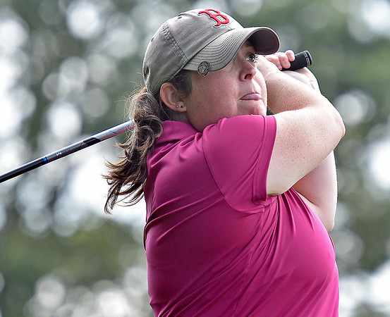 (Brad Davis/The Register-Herald) Kristen Bozarth watches her shot from the fairway during BNI Classic action Saturday afternoon at Grandview Golf Course.