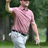 (Brad Davis/The Register-Herald) Active duty U.S. Army captain Jay Thomas closes his eyes in amused dissapointment in reaction to his eagle putt on 18 stopping right on the edge of the cup during Monday's final round of the BNI Monday afternoon on the Cobb Course at Glade Springs.