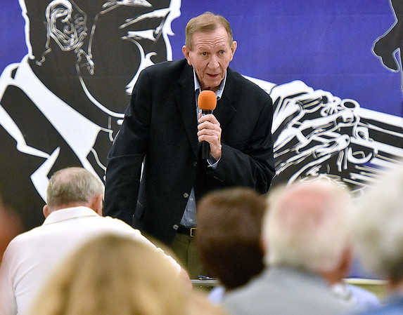 (Brad Davis/The Register-Herald) Mullens native and former WVU basketball great Willie Akers reflects on his life and career in sports as he speaks as one of four honorees during the annual Jack Lilly Sports Legends dinner Saturday night at the Beckley Moose Lodge. Akers was honored along with Howard Hurt, Lonnie Warwick and Fred Wyant.