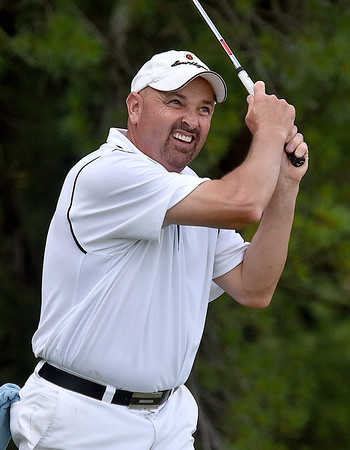 (Brad Davis/The Register-Herald) Rob Howell tees off during BNI action Sunday at Grandview Golf Course.