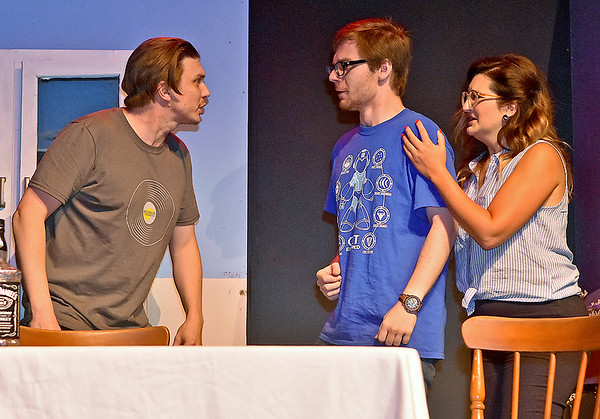 "(Brad Davis/The Register-Herald) Raleigh Playhouse and Theatre actors (from left) Jamie Smith, Chris Cohenour and Sarah Dodson-Osborne perform scenes from their upcoming production, ""Abomination on Bolt Mountain,"" during a rehearsal at the Neville Street theatre Thursday evening."