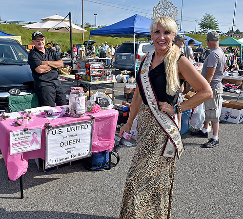 (Brad Davis/The Register-Herald) 2015 U.S. United Queen and current ambassador Glenna Rollins, a native of the Glen Daniel area, was on hand hanging out at the 21st Annual Newspapers in Education Flea Market & Live Auction Saturday morning in the Marquee Cinemas parking lot.