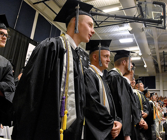 (Brad Davis/The Register-Herald) Graduating Westside seniors look on during the school's 2016 commencement ceremony Sunday afternoon in Clear Fork.