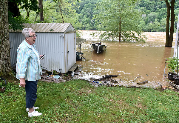 (Brad Davis/The Register-Herald) Fox Lanes Road resident Pat Holland watches the raging New River from her back yard Friday afternoon near Hinton.
