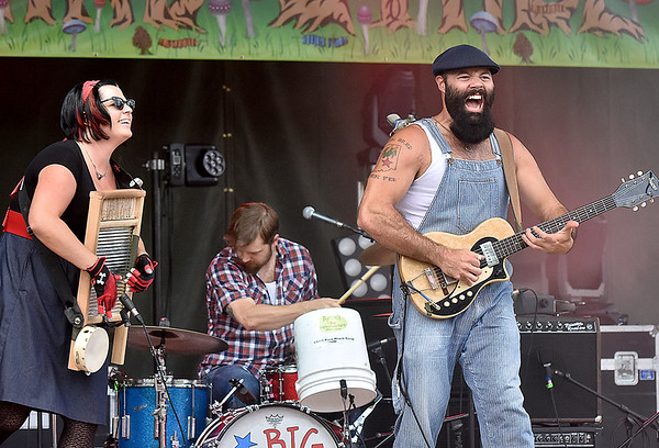 (Brad Davis/The Register-Herald) Reverend Peyton's Big Damn Band performs as the weekend's first band to set foot on the main stage Friday evening at the Mountain Music Festival inside Ace Adventure Resort.
