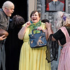 "(Brad Davis/The Register-Herald) It gets a little creepy during pre-dinner introductions as Lucas' mother (middle, played by Deb Brady), the boy trying to court Wednesday, gets a close greeting from Uncle Fester (played by Dan Hasty) and Granny (played by Sharon Chadwick) during Theatre West Virginia's season-opening performance of ""The Addams Family Musical"" Saturday night at Grandview Park's Cliffside Amphitheatre."