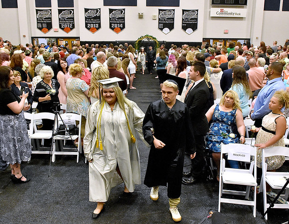 (Brad Davis/The Register-Herald) Graduating Westside seniors enter the gym prior to the school's 2016 commencement Sunday afternoon in Clear Fork.