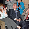 """(Brad Davis/The Register-Herald) Outgoing Wyoming County Schools Superintendent Frank """"Bucky"""" Blackwell is showered with applause after the Pineville Children's Chorus finished singing """"happy birthday"""" for him during a retirement reception at Wyoming East High School Thursday evening."""