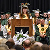 (Brad Davis/The Register-Herald) Erika Osborne speaks as Salutatorian during Wyoming East's 2016 commencement ceremony Sunday afternoon in New Richmond.