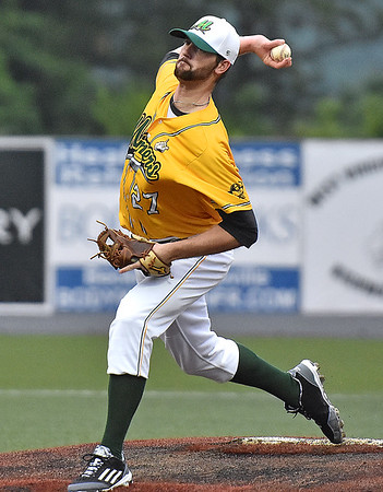 (Brad Davis/The Register-Herald) West Virginia starting pitcher Austin Goss delivers during the Miners' win over the Kokomo Jackrabbits Friday night at Linda K. Epling Stadium.