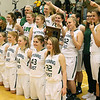 (Brad Davis/The Register-Herald) The Wyoming East Lady Warriors pose for photos with the trophy after winning the regional final against PikeView Friday night in New Richmond, sending them to Charleston for a second straight year.