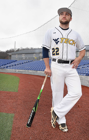 Dyan Harvey, of WVU Tech, waiting for his game to start against College of St. Joseph at Linda K. Epling Stadium in Beckley Friday afternoon.<br /> (Rick Barbero/The Register-Herald)