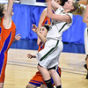 (Brad Davis/The Register-Herald) Wyoming East's Jasmine Blankenship drives to the basket during the Lady Warriors' first round win over the Rebels in the state basketball tournament Wednesday evening at the Charleston Civic Center.