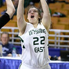 (Brad Davis/The Register-Herald) Wyoming East's Katlen Francis drives to the basket during the Lady Warriors' first round win over the Rebels in the state basketball tournament Wednesday evening at the Charleston Civic Center.