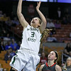 Wyoming East's Kara Sandy scores during the Lady Warriors' state tournament semifinal win over the Indians Friday afternoon at the Charleston Civic Center.