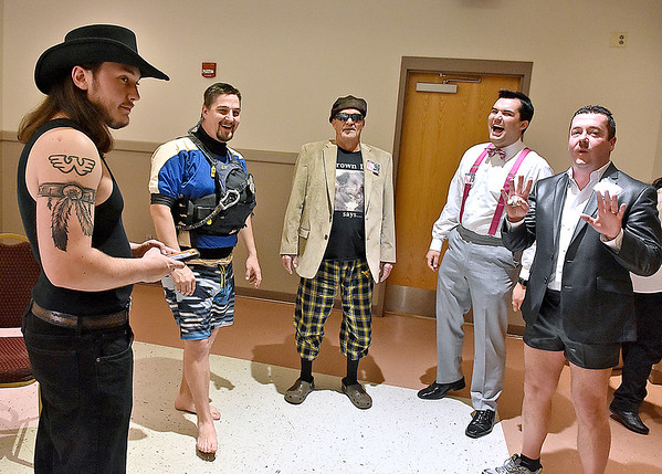 Backstage prior to the Women's Resource Center's Hunks in Heels event Friday night at the Beckley-Raleigh County Convention Center.