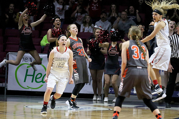 (Brad Davis/The Register-Herald) The uncropped frame capturing the moment Sissonville's Madison Jones hit a jumper with two seconds remaining, ending Summers County's season in heartbreaking fashion during the Lady Bobcats' first round state tournamnet game against the Indians Wednedsay night at the Charleston Civic Center.