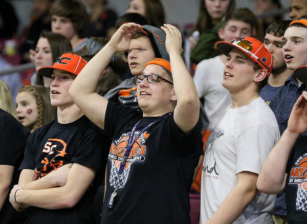 (Brad Davis/The Register-Herald) Summers County students reacts to events on the court during the Lady Bobcats' first round state tournamnet game against the Sissonville Indians Wednedsay night at the Charleston Civic Center.