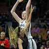 Wyoming East's Emily Saunders scores during the Lady Warriors' state tournament semifinal win over the Indians Friday afternoon at the Charleston Civic Center.