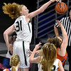(Brad Davis/The Register-Herald) Wyoming East's Emily Saunders blocks a shot attempt by Tolsia's Mariah Finley during the Lady Warriors' first round win over the Rebels in the state basketball tournament Wednesday evening at the Charleston Civic Center.