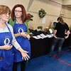 Quota Club president Angela Crook, right, and member Lee File chat during the Empty Bowls event.