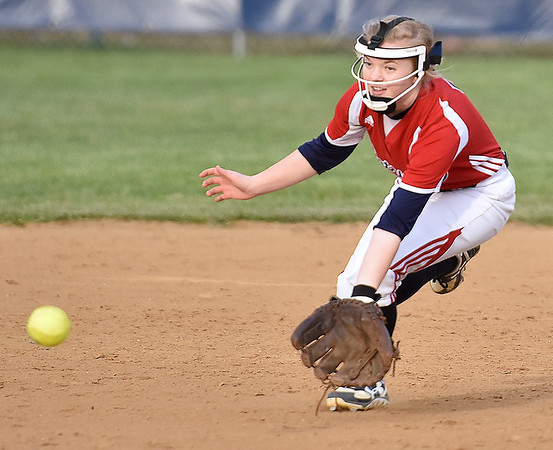 (Brad Davis/The Register-Herald) Independence second baseman Madison Adkins fields a ground ball during the Patriots' win over Wyoming East in the first game of a doubleheader Wednesday evening in Coal City.