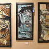 "Artwork by artist Holly Pittman hangs on display inside the Beckley Art Center's Cynthia Bickey Gallery Saturday afternoon. The middle one, entitled ""Disturbed,"" took best in show during the previous night's opening reception for the BAC's latest open exhibit, which runs from now until April 4."