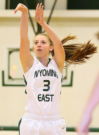 (Brad Davis/The Register-Herald) Wyoming East's Kara Sandy shoots from three-point range during the Lady Warriors' regional championship victory over PikeView Friday night in New Richmond.