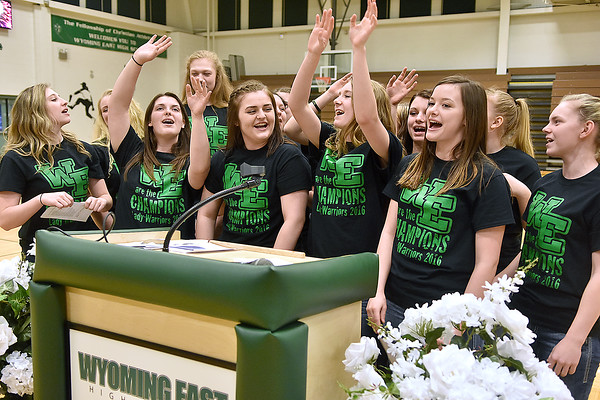 (Brad Davis/The Register-Herald) The singing (and reigning state champs) Lady Warriors perform one of their now famous routines at the conclusion of a ceremony celebrating Wyoming East's first ever girls basketball state championship Monday evening in the school's gymnasium.