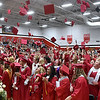 (Brad Davis/The Register-Herald) Graduating seniors from Oak Hill High School burst into celebration at the conclusion of the school's 2016 Commencement ceremony Friday night inside the school's gymnasium.