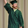 (Brad Davis/The Register-Herald) Graduating Fayetteville High School senior Pete Palko celebrates as he walks the stage to receive his degree school's 2016 Commencement ceremony Friday night at the Soldiers and Sailors Memorial.