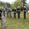 Reenactors and Veterans from American Legion Post 32 do a seven gun salute in front of Alfred Beckley's grave in the Wildwood Cemetary off of South Kanawha Street in Beckley during the 8th annual Founders Day event.<br /> (Rick Barbero/The Register-Herald)