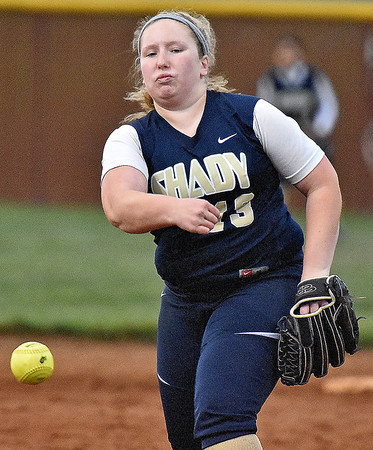 (Brad Davis/The Register-Herald) Shady Spring starting pitcher Maranda Allen delivers during the Tigers' win over the Lady Red Devils Wednesday night at Woodrow Wilson High School.