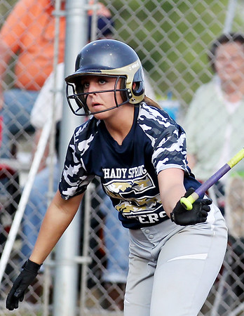 Shady Spring's Hannah Daniels drops her bat after a hit during their sectional game against Greenbrier East in Shady Spring on Thursday. (Chris Jackson/The Register-Herald)
