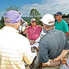 Golf legend Jack Nicklaus, center, speaks to representatives from both Gary Player and Arnold Palmer, respectively, during a course preview at the new Oakhurst Golf Course in White Sulphur Springs. (Chris Jackson/The Register-Herald)