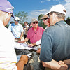 Golf legend Jack Nicklaus, second from left, looks over a course map with representatives from both Gary Player and Arnold Palmer, respectively, during a course preview at the new Oakhurst Golf Course in White Sulphur Springs. (Chris Jackson/The Register-Herald)