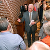(Brad Davis/The Register-Herald) Beckley Mayor-elect Rob Rappold says a few words of thanks to his family and supporters following his victory at his election headquarters in the old McBee's location Tuesday night in Beckley.