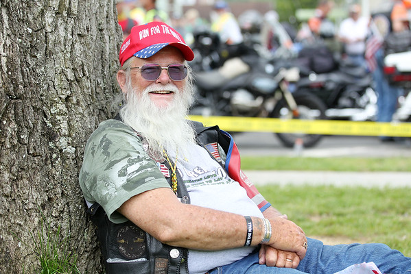 Glenn Buchholz, from Aurora, CO., takes a break after reaching Rainelle during Rolling Thunder's annual Run for the Wall Thursday. (Chris Jackson/The Register-Herald)