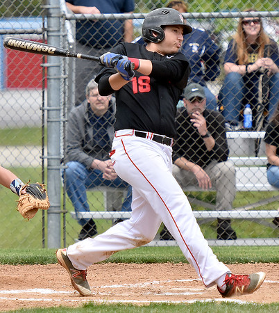 (Brad Davis/The Register-Herald) Oak Hill's Derek Bloomfield against Shady Spring May 7.