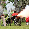 Reenactors from Southern WV shoot off a 3/4 scale napoleon cannon in front of the Wildwood Museum off of South Kanawha Street in Beckley during the 8th annual Founders Day event.<br /> (Rick Barbero/The Register-Herald)
