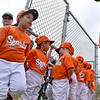 (Brad Davis/The Register-Herald) Young teeball players from the Sparks wait to take the Beckley Little League field during the team introduction portion of an opening day ceremony for the teeball league Saturday afternoon.