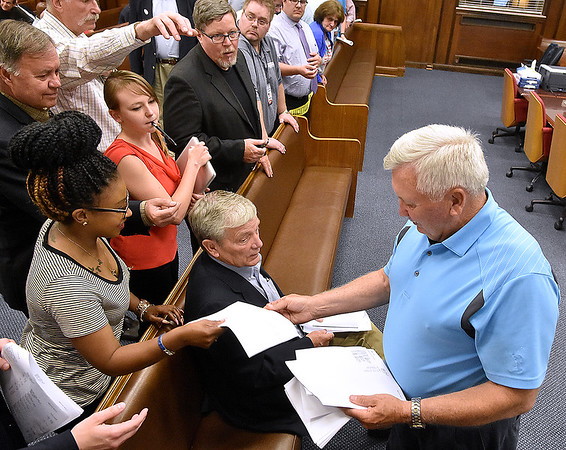(Brad Davis/The Register-Herald) Candidates for various offices, supporters, family member and media all gather to receive the latest round of results as they come in Tuesday night at the Raleigh County courthouse.