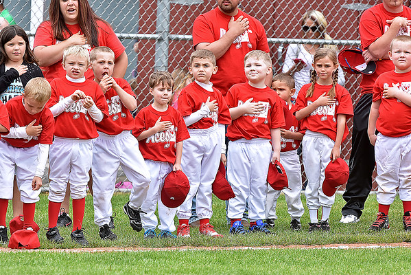 (Brad Davis/The Register-Herald) Young teeball players, coaches and families with the Aces line up on the Beckley Little League field during an opening day ceremony for the teeball league Saturday afternoon.