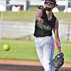 (Brad Davis/The Register-Herald) Wyoming East starting pitcher Holly Brehm delivers during the Lady Warriors' loss to James Monroe Thursday evening in New Richmond.