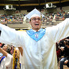 Hunter Wright celebrating after the Liberty High School graduation ceremony held at the Beckley-Raleigh County Convention Center Saturday morning.<br /> (Rick Barbero/The Register-Herald)