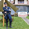 (Brad Davis/The Register-Herald) Patrick Parker, Curator and Union Army sentry (just for the day), mans his post outside the Raleigh County Veterans Museum for this season's opening day Sunday afternoon on Harper Road. The museum will be open Wednesdays, Saturdays and Sundays from 1:00-6:00 p.m., with admission prices set at $3.00 for adults, $1.00 for children ages 5-17 and free any kids under four.
