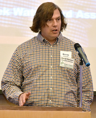 (Brad Davis/The Register-Herald) Speaker David Stewart, executive director of the Piney Creek Watershed Association, discusses environmental issues in the area during the Rise Up Southern West Virginia Conference Wednesday afternoon in the Tamarack Ballrooms.