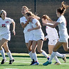 (Brad Davis/The Register-Herald) University players celebrate a goal during the second half of the Hawks' Class AAA girls State Championship win over George Washington Saturday morning at the YMCA Paul Cline Memorial Sports Complex.