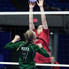 (Brad Davis/The Register-Herald) PikeView's Abby Lester leaps to block a hit from Winfield's Taylor Ritz during the Panthers' opening round win in the class AA State Volleyball Tournament Friday morning at the Charleston Civic Center.